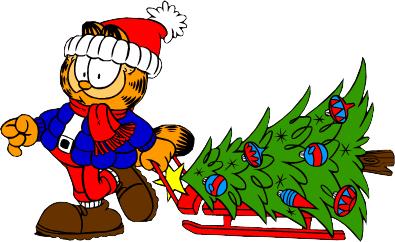 garfield pulling a christmas tree